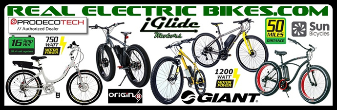 Electric pedal assist bicycles by Prodecotech, Giant, Origin 8 and Sun Bicycles...